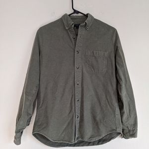 Men's J. Crew Solid Green Flannel Shirt Size Small